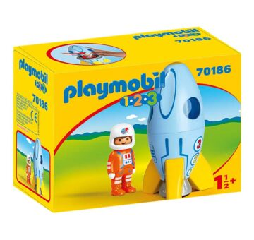 Playmobil 1.2.3 Astronaut With Rocket 70186
