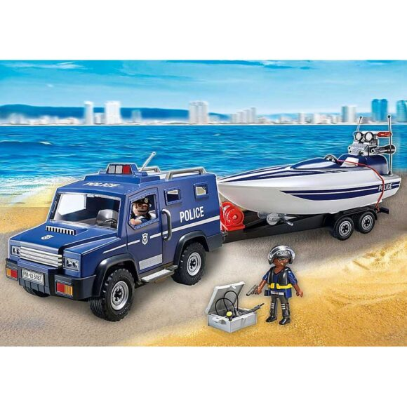 Playmobil Police Truck With Speedboat 5187