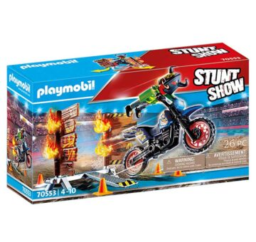 Playmobil Stunt Show Motocross With Fiery Wall 70553