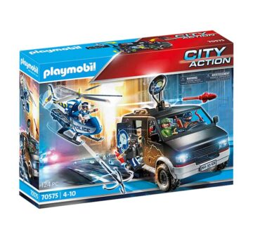 Playmobil Helicopter Pursuit With Runaway Van 70575